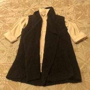 LOFT shawl color charcoal gray sweater vest S